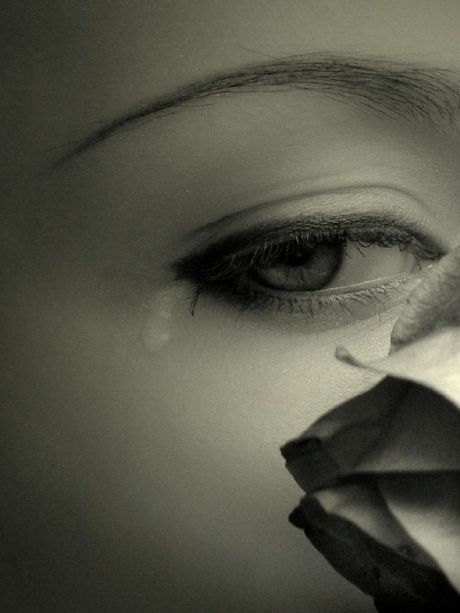 Широкоформатные обои Девушка с грустными глазами, Девушка с вуалью.