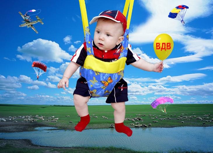 Картинка ребенок с парашютом