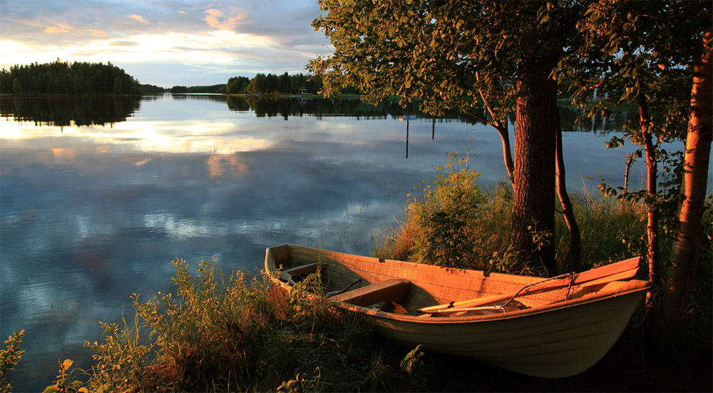 пейзажи с лодкой картинки